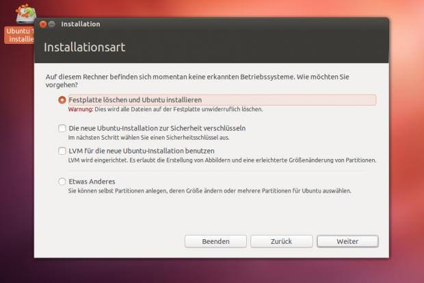 Bei der Installation von Ubuntu 12.10 lässt sich die gesamte Festplatte verschlüsseln. Ubuntu lässt sich auch in LVM-Partitionen installieren.