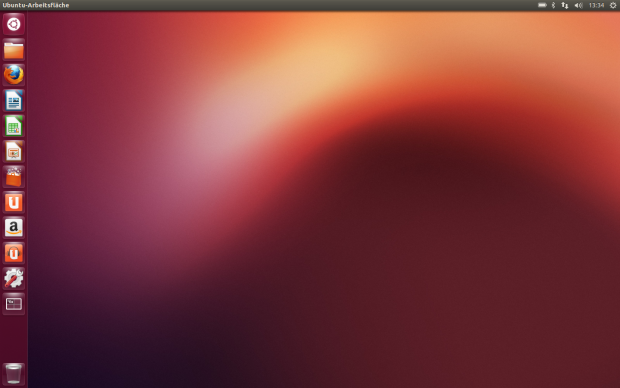 Der Desktop von Ubuntu 12.10 mit dem Amazon-Icon in Dash