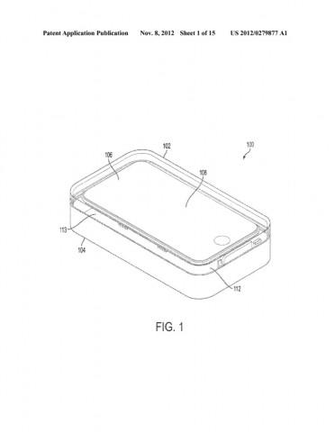 Die iPhone-Hülle als Dockingstation und Tonverstärker (Bild: US-Patent- und Markenamt)