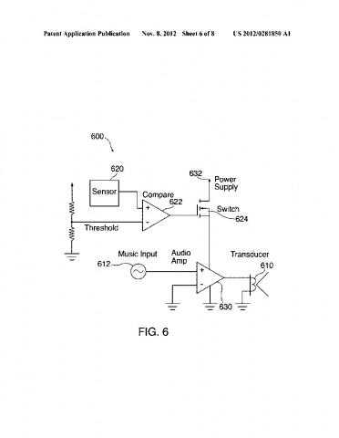Ablaufdiagramm zum Kopfhörer-Lautsprecherpatentantrag  US20120281850 (Bild: US-Patent- und Markenamt)