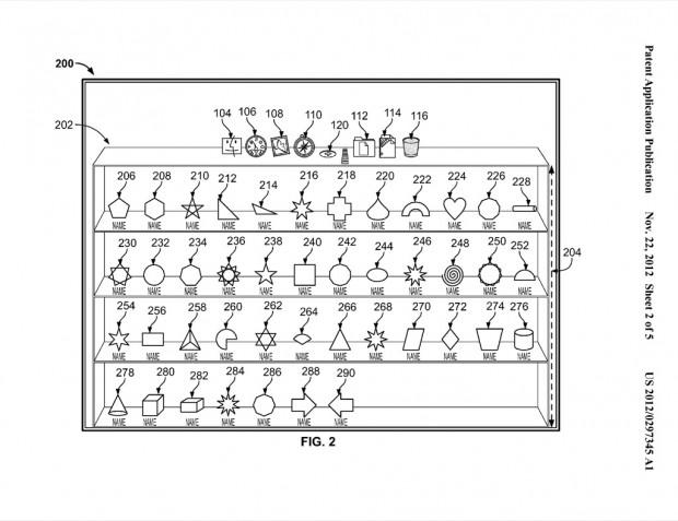 Apples Patentantrag 20120297345 zu einem mehrzeiligen Dock (Bild: US-Patent- und Markenamt)