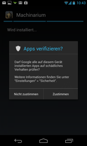 Apps aus Quellen jenseits von Googles Play Store werden erst nach Abfrage installiert. (Screenshot: Golem.de)