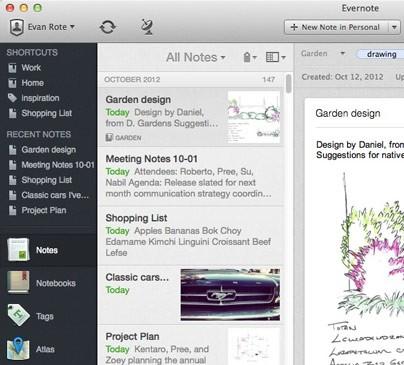 Linke Seitenleiste von Evernote 5 (Bild: Evernote)