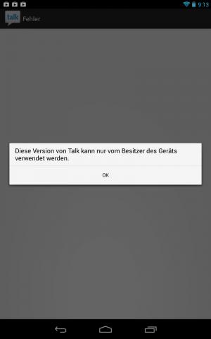 Greift ein nicht als Eigentümer angemeldeter Nutzer auf die App Google Talk zu, erscheint diese Fehlermeldung. (Screenshot: Golem.de)