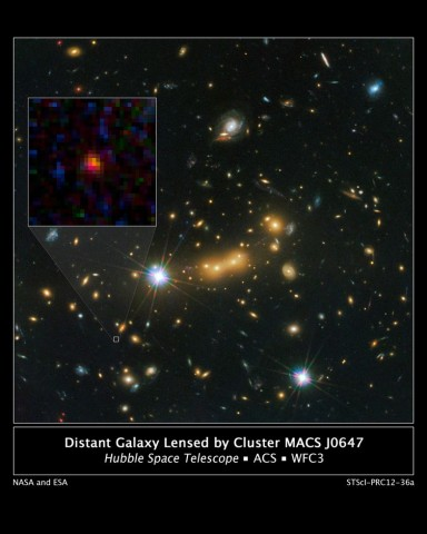 Galaxie MACS0647-JD (Bild: Nasa, Esa, M. Postman, D. Coe/STScI and Clash Team)