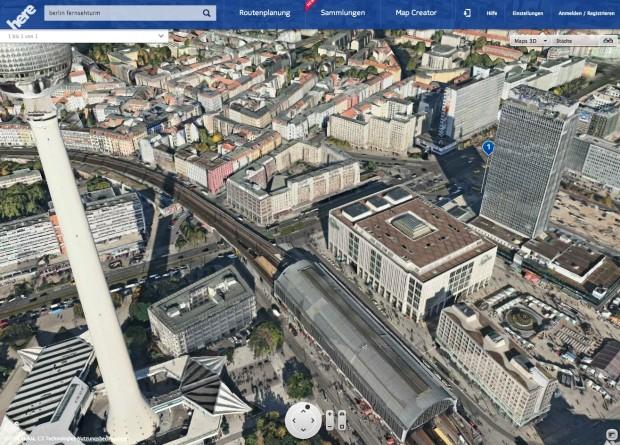 Nokia Here Maps mit 3D-Ansicht im Desktop-Browser  (Bild: Nokia)