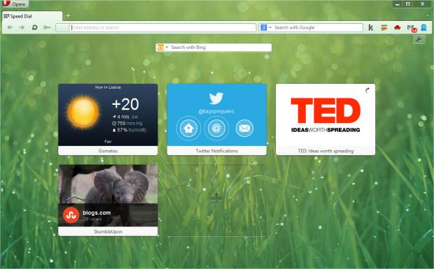 Opera 12.10 - mit der Schnellstartseite (Quelle: Opera Software)