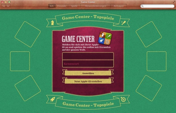Gamecenter in Mac OS X (Screenshot: Golem.de)