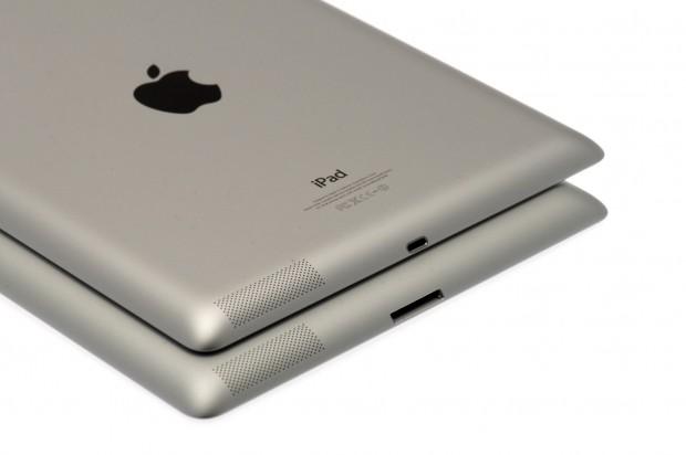 Rein äußerlich merkt der Anwender nur am Dock-Anschluss, ob es sich beim Retina-iPad um eines der dritten Generation mit A5X (unten) oder der vierten Generation mit A6X (oben) handelt.