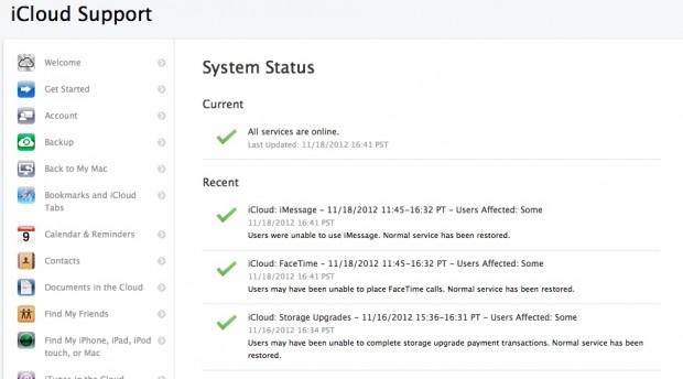 Ausfall von iMessages und Facetime am 18. November 2012 (Bild: Apple)