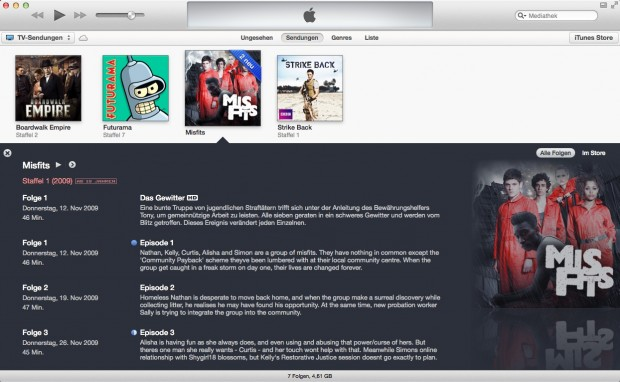 Mediathek in iTunes 11 (Bild: Apple)
