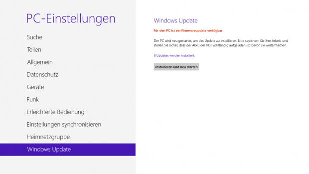 Für Surface RT - Microsofts erstes Firmware-Update ist da (Screenshot: Golem.de)