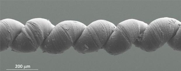 Das Nanogarn in Großaufnahme. Es ist etwa doppelt so dick wie ein menschliches Haar. (Bild: UT Dallas)