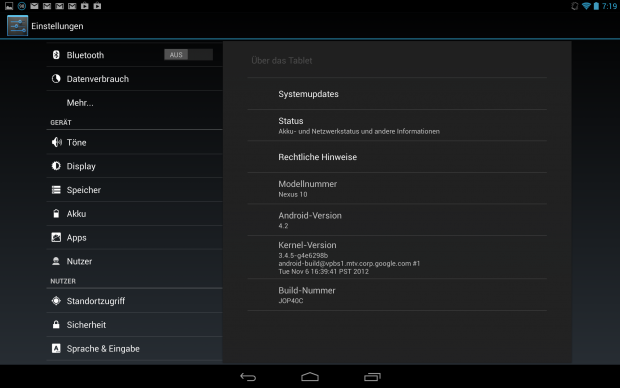 Das Nexus 10 läuft mit Android 4.2 alias Jelly Bean. (Screenshot: Golem.de)