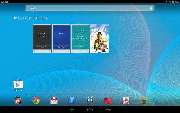 Der Homescreen des Nexus 10 (Screenshot: Golem.de)