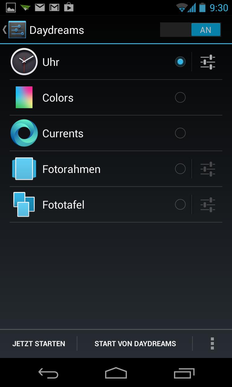 Nexus 4 im Test: Schickes Smartphone, schwacher Akku - Mit Daydreams... (Screenshot: Golem.de)