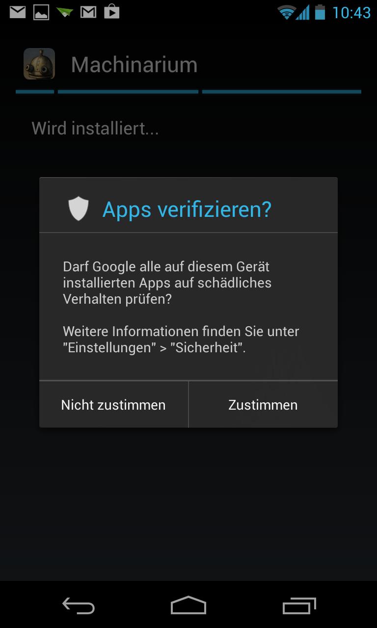 Nexus 4 im Test: Schickes Smartphone, schwacher Akku - Apps aus Quellen jenseits von Googles Play Store werden erst nach Abfrage installiert. (Screenshot: Golem.de)