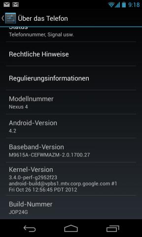 Auf dem Nexus 4 läuft Android 4.2, das als Update für Jelly Bean gedacht ist. (Screenshot: Golem.de)