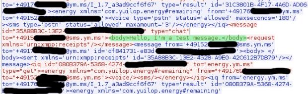 Das Sniffer-Tool Wireshark zeigt eine ausgehende Yuilop-Nachricht von Sicherheitsforscher Thomas Roth im Klartext. Die Nachricht wurde in einem offenen WLAN abgefangen. (Bild: Thomas Roth/Screenshot: Golem.de)
