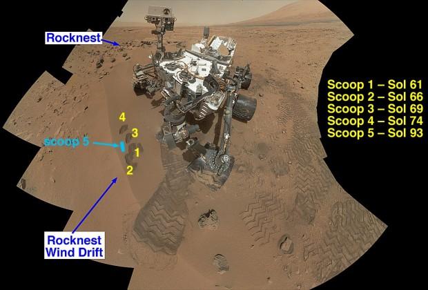 Das Bild zeigt ein aus mehreren Fotos zusammengesetztes Panorama des Rovers am Rocknest. Auf dem Bild sind auch die Stellen zu sehen, wo Curiosity Proben aus dem Marssand entnommen hat. (Bild: Nasa/JPL-Caltech/MSSS)