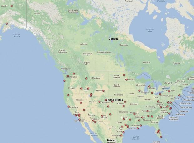 Übersicht über Drohneneinsätze im zivilen US-Luftraum (EFF/Screenshot: Golem.de)