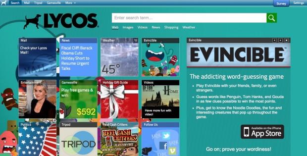 Lycos - das Webportal plant eine neue Suchmaschine zu integrieren. (Screenshot: Golem.de)