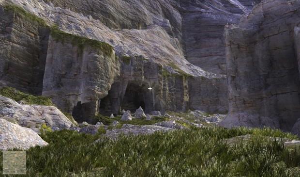 Voxelfarm - prozedurale Welten, hier ein Höhleneingang