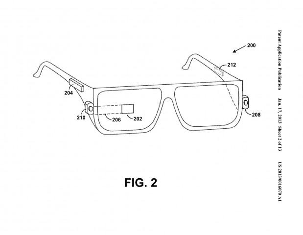 Googles Lasertastatur in Google Project Glass (Bild: US-Patent- und Markenamt)