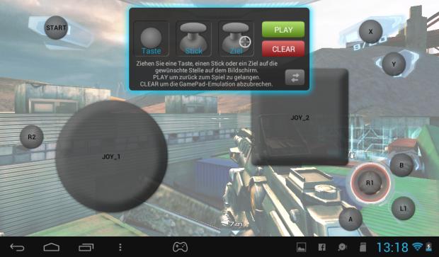 Archos hat für viele Spiele die Steuerung bereits vorkonfiguriert. Mit Drag-and-Drop-Elementen wird den analogen Steuerungselementen einfach die virtuelle Steuerung zugewiesen. (Screenshot: Golem.de)