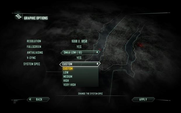 Das Standard-Grafikmenü von Crysis 3...