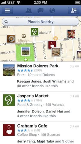 """""""In der Nähe""""-Funktion der  Facebook-App 5.4 für iOS (Bild: Facebook)"""