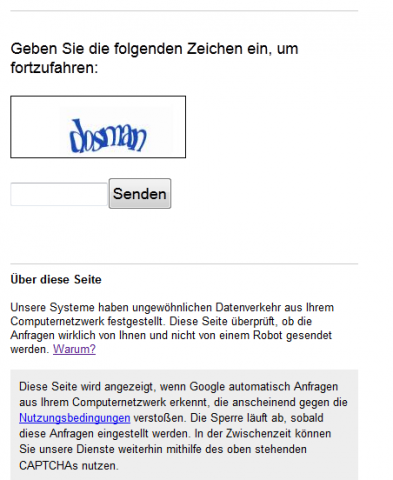 Aktuelle Captcha-Abfrage von Google (Screenshot: Golem.de)