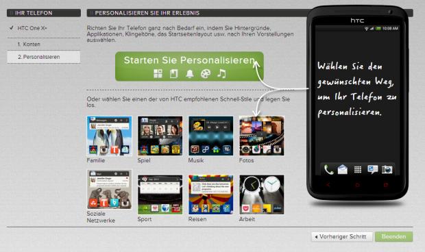 Über HTCs Internetseite kann das Smartphone eingerichtet werden. (Screenshot: Golem.de)