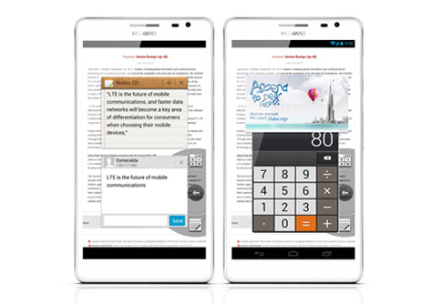 "Die ""Easy-Panel""-Funktion des Huawei Ascend Mate (Bild: Huawei)"