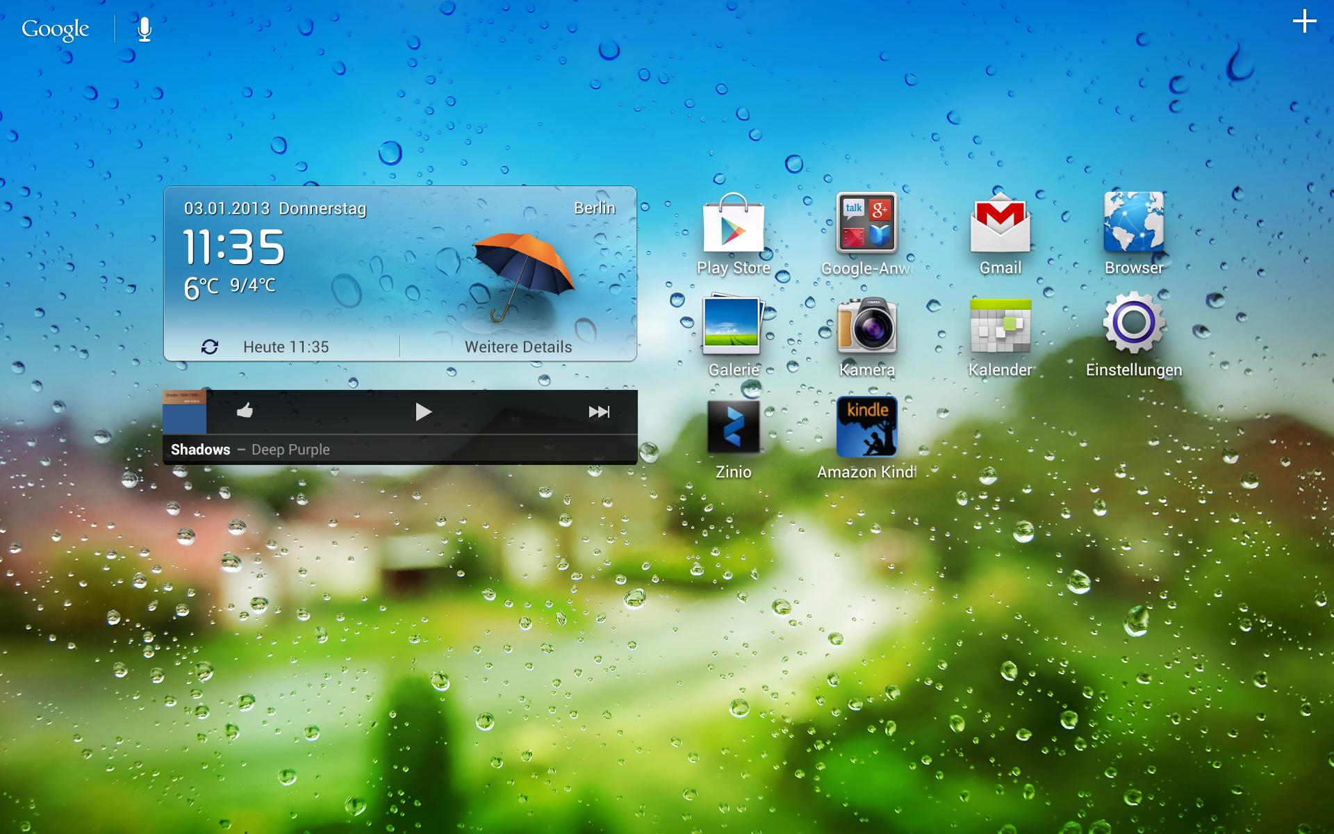 Mediapad 10 FHD im Test: Huaweis Nexus-10-Konkurrent hat es schwer gegen Google - Die Statusleiste kann per Klick einfach ausgeblendet werden. (Screenshot: Golem.de)