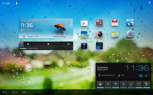 Mit einer Schnellzugriffleiste können Funktionen wie WLAN oder Bluetooth direkt ein- und ausgeschaltet werden. (Screenshot: Golem.de)