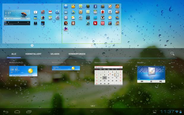 Ein Klick auf das Pluszeichen in der rechten oberen Ecke öffnet das Widget-Menü. (Screenshot: Golem.de)