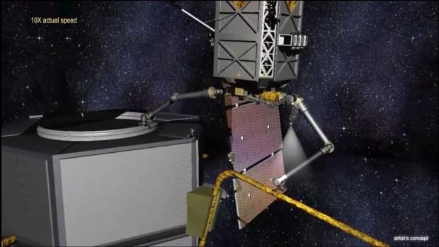 Künstlerische Darstellung eines Satellitenumbaus (Bild: Darpa)