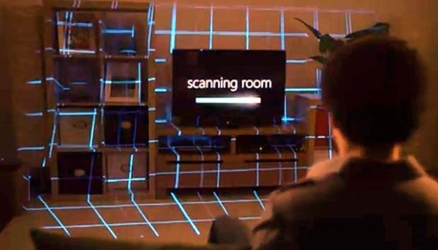 Illumiroom - erst wird der Raum gescannt, dann wird in Echtzeit rund um den Fernseher projiziert. (Screenshot: Golem.de)