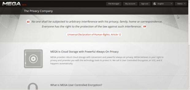 Die Privacy-Erklärung des Sharehostingangebots Mega