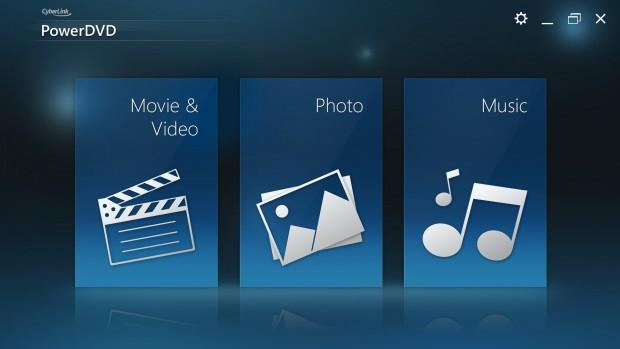 PowerDVD Touch - der Startscreen (Bild: Cyberlink)