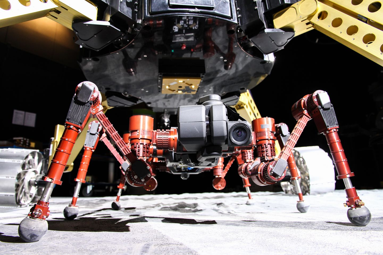 Roboter: Crex kraxelt im Krater - Der Laufroboter steigt dann in Krater, ...  (Foto: Florian Cordes/DFKI)