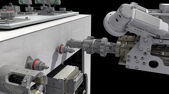 So stellt sich der Künstler die Weltraumtankstelle im Einsatz vor: Der Roboter entfernt einen Tankdeckel vom Modellsatelliten. ( (Bild: Nasa)