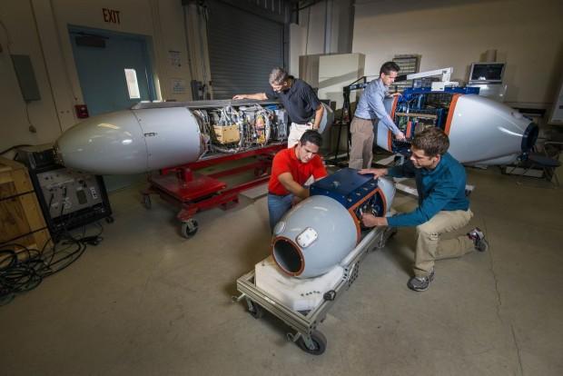 Harvester besteht aus drei Gondeln, die an eine Drohne angebaut werden. (Foto: Randy Montoya/Sandia Labs)