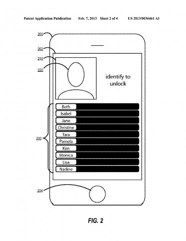 Bildidentifikation für Login - Apple-Patentantrag 20130036461 (Bild: US-Patent- und Markenamt)