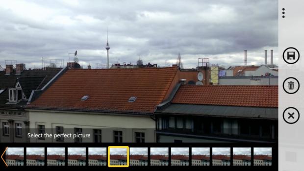 Nachdem das Foto mit Blink geschossen wurde, kann der Nutzer aus einer Reihe von Serienbildaufnahmen auswählen. Diese entstehen sowohl vor als auch nach dem eigentlichen Auslösevorgang. (Screenshot: Golem.de)