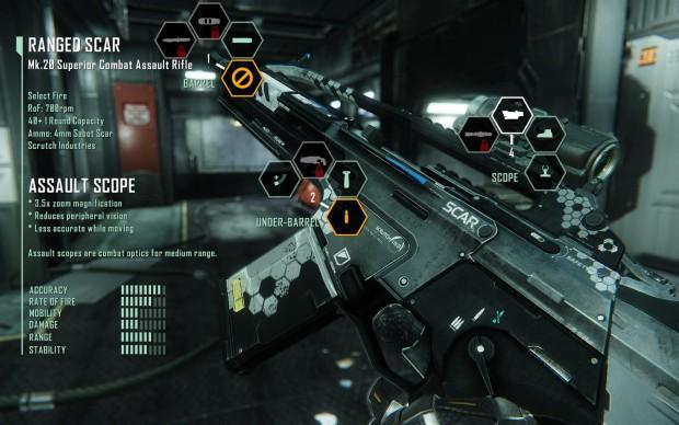Die Effektivität von Waffen kann durch Zusatzmodule im Menü gesteigert werden.