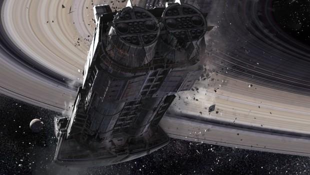 Ein Raumschiff unterhalb der Ringe des Saturns