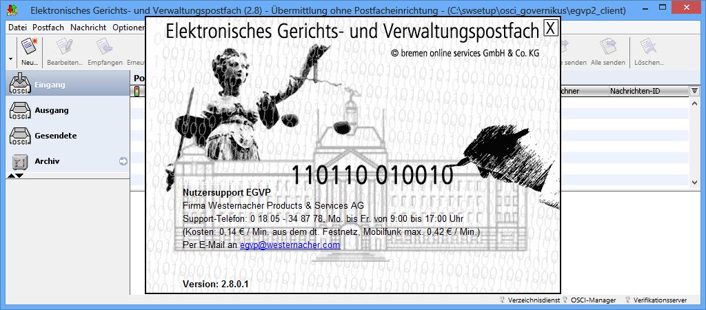 EGVP 2.8: Gekapseltes Java für Anwälte und Gerichte - EGVP setzt in der Version 2.8 auf eine gekapselte Java-Version im Unterverzeichnis des Programms.