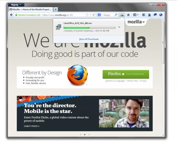 Firefox 20 mit integriertem Downloadmanager